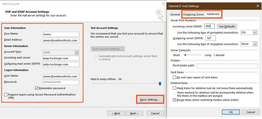 Enter IMAP-POP and SMTP