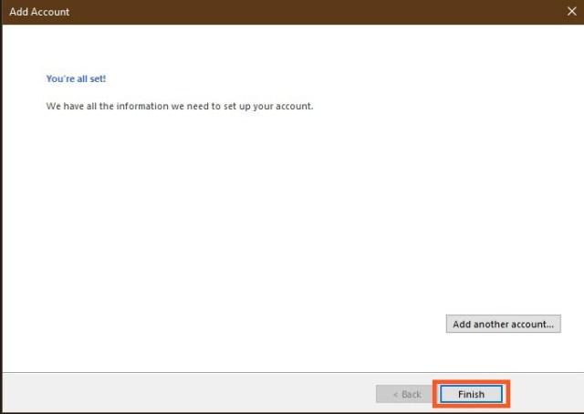Finalize the Outlook Setup