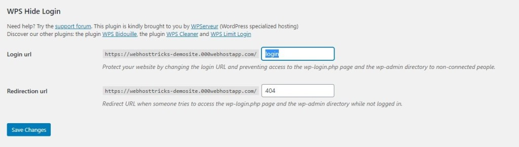 change-URL with WPS hide login