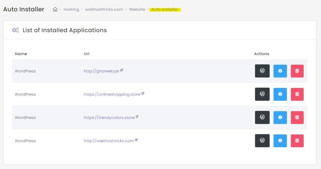 list of installed application