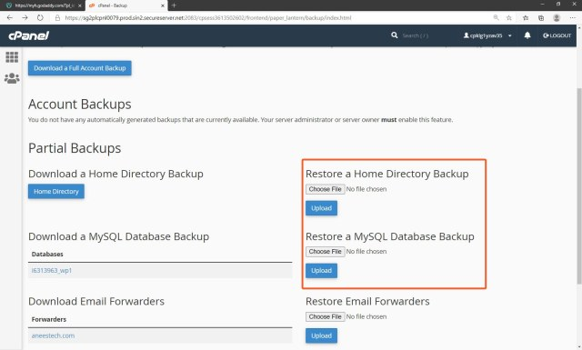 Restore backup from cPanel