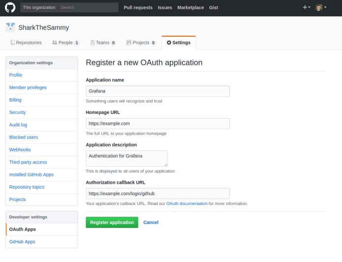 GitHub Register OAuth Application