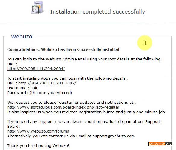 webuzo installation finished