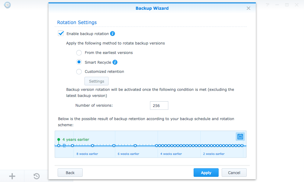 Hyper Backup's Backup Wizard interface for configuring backup rotations