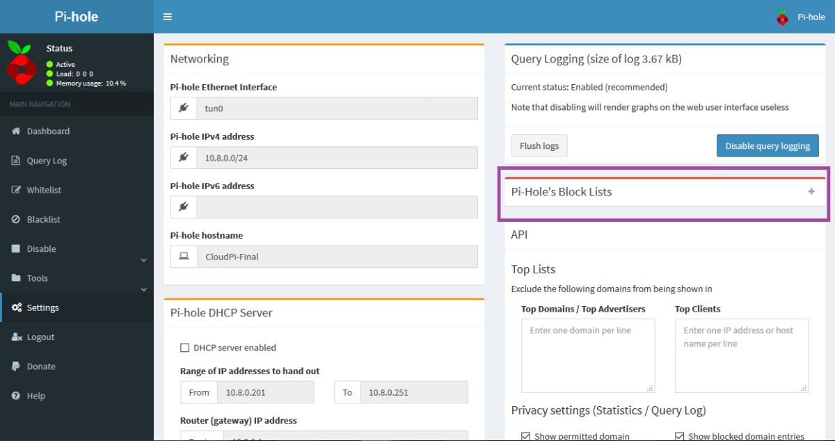 Web Interface Adding Additional Block Lists