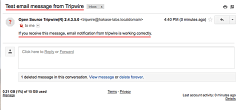 Tripwire report by email