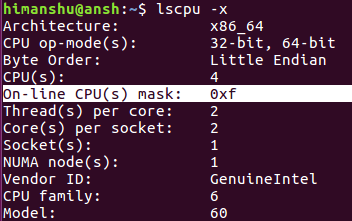 How to make lscpu use hexadecimal masks for CPU sets