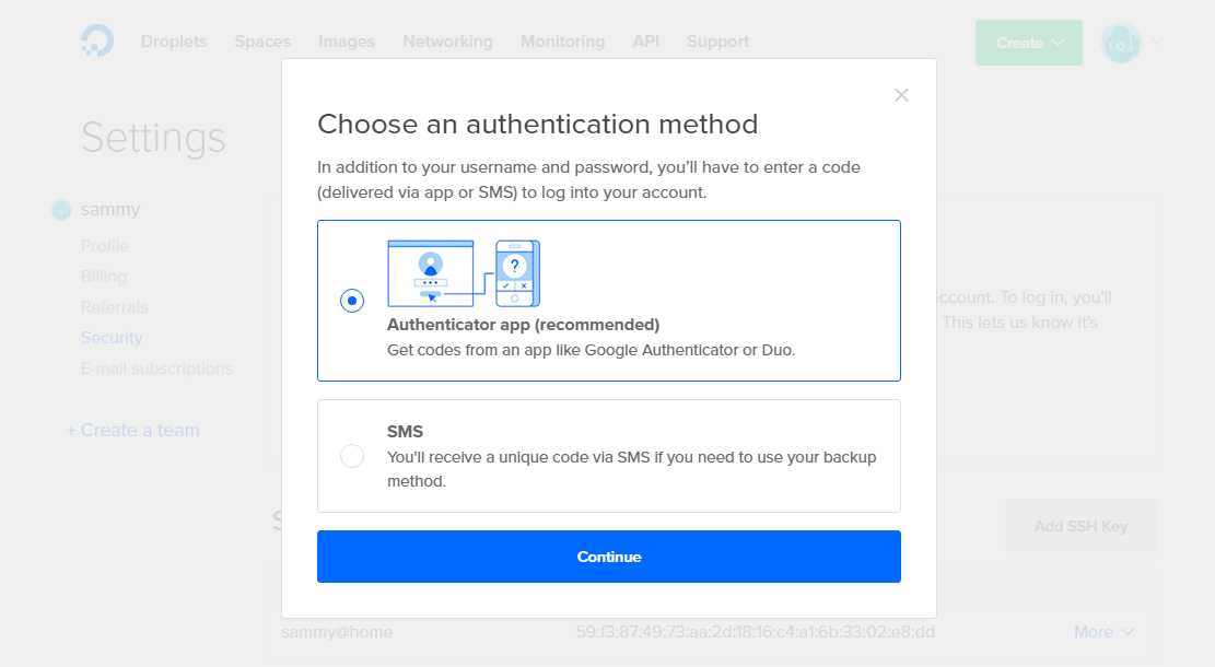 Screencap of the Choose an authentication method modal