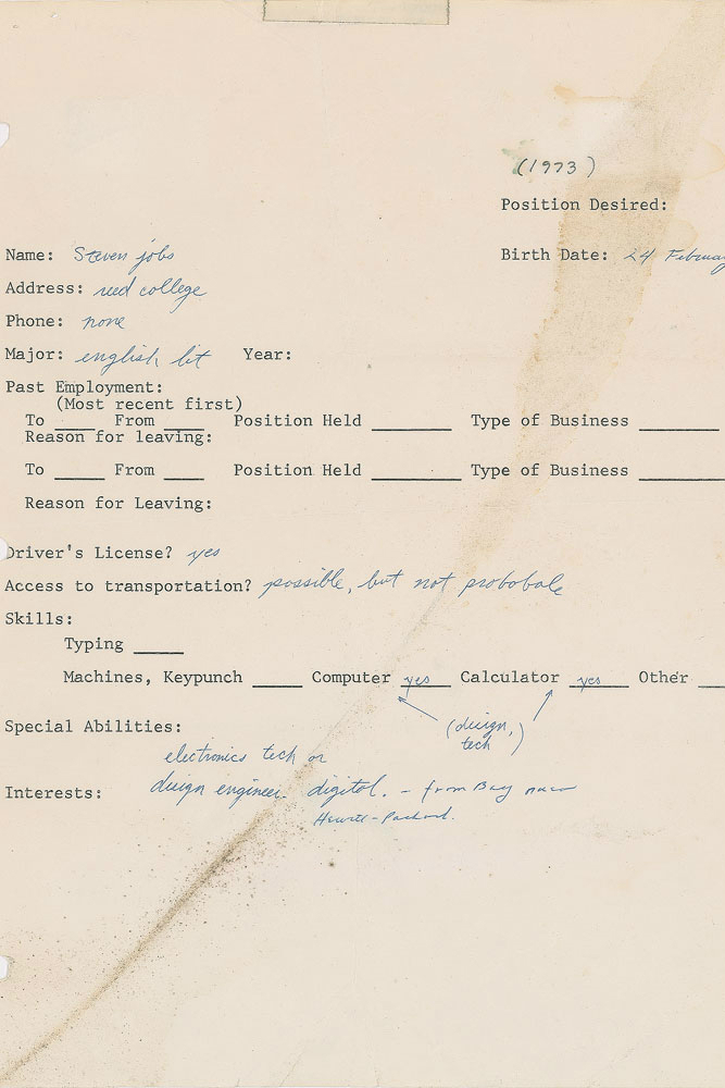 Steve work' 1973 resume fetches $174,000 at auction 13