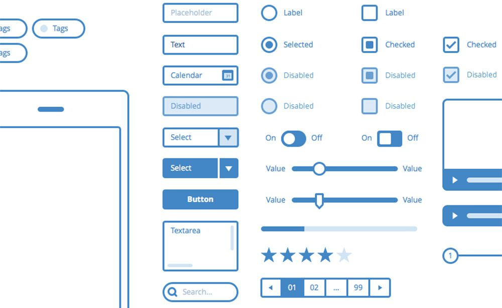 blue ui wireframes