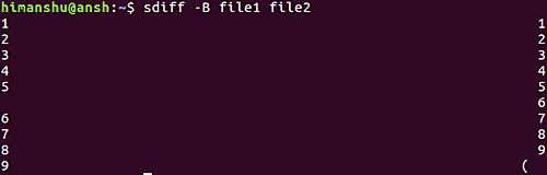 sdiff -B file1 file2