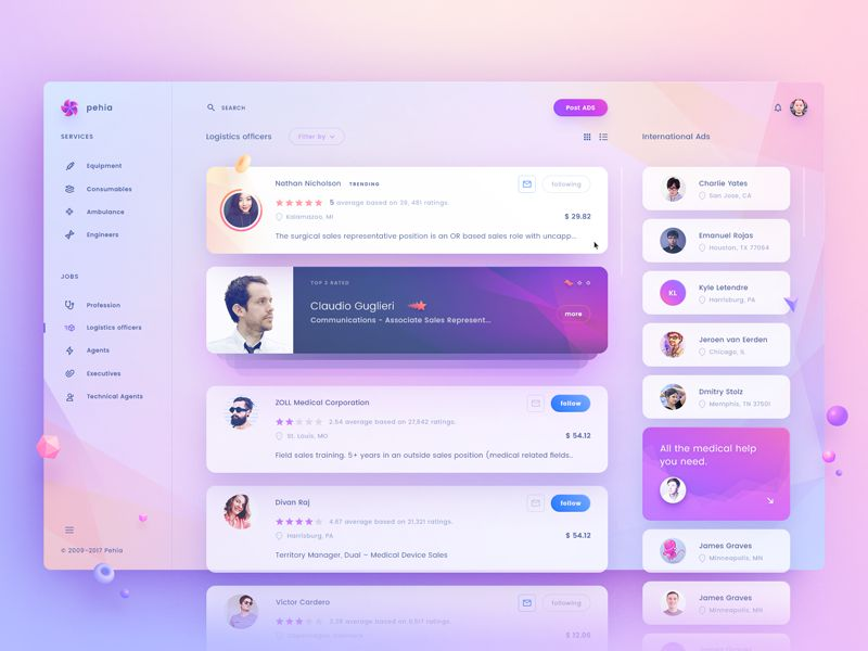 Pehia Dashboard Inspiring Designed Admin Dashboard Layouts