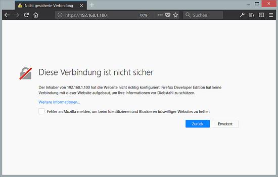Self-signed SSL certificate warning