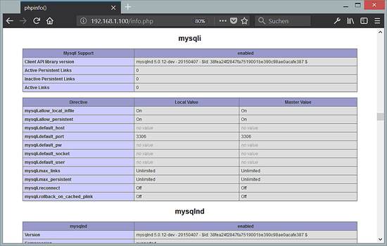 PHP 7.2  with MySQL extension loaded