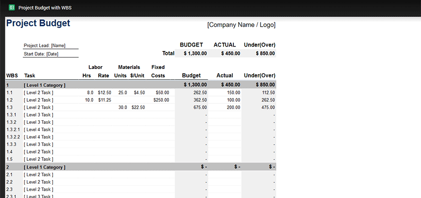 Detailed and Basic Project Budgets