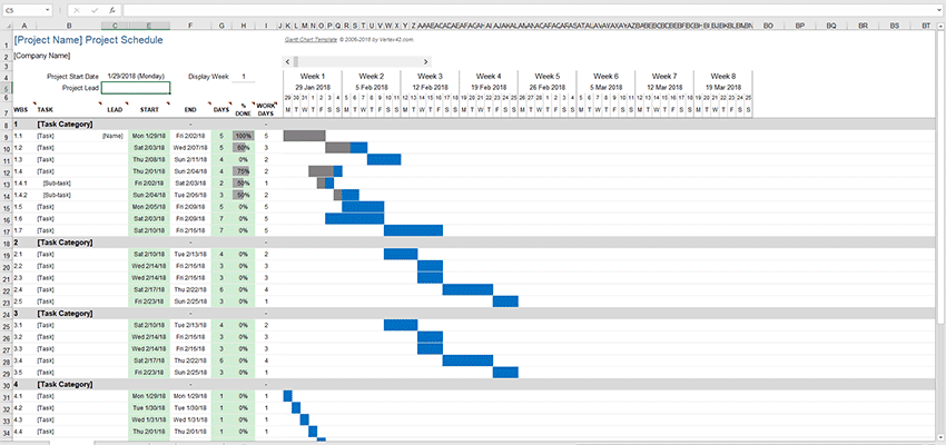 Goal Tracking Gantt Chart for Excel