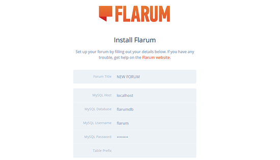Flarum Community manager installation