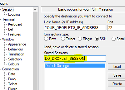Enter server URL or IP into Putty