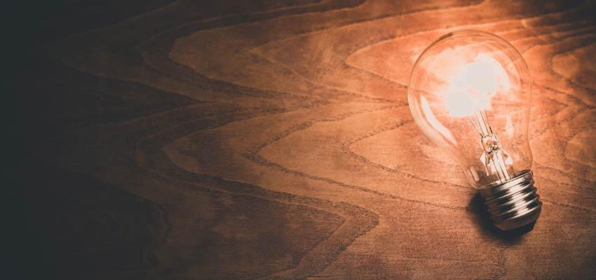 Lightbulb on a desk.
