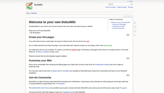 DokuWiki successfully installed