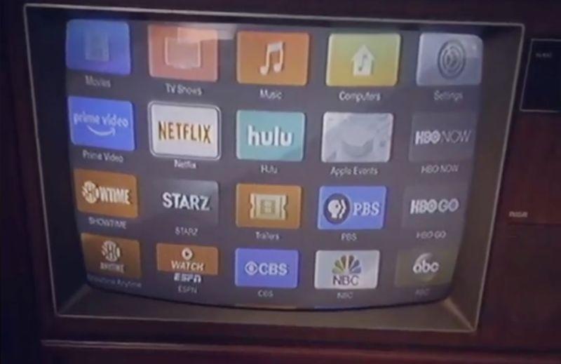 Apple TV on a vintage TV cabinet.