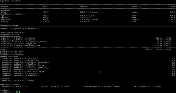Installing Apache web server on CentOS