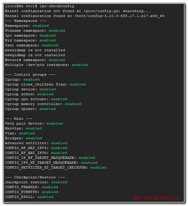 Verify lxc installation