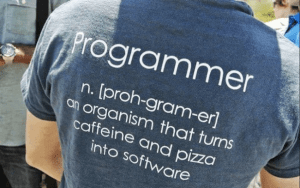 Programmer: An organism that turns caffeine and pizza into software
