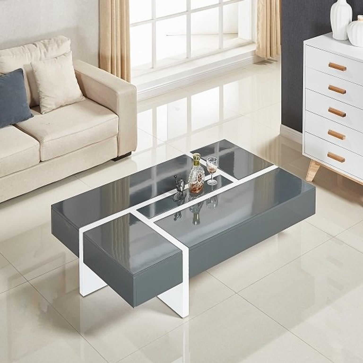 storm grey and white high gloss coffee table