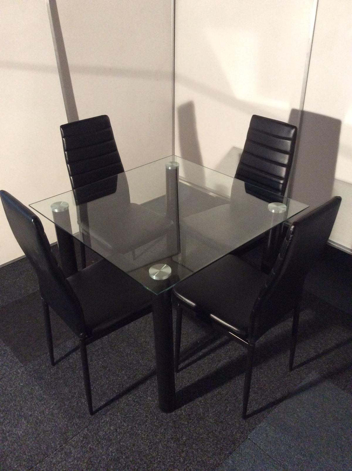 modern square glass dining table and 4 chairs