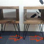 Rustic Bedside Table With Black Hairpin Legs In S80