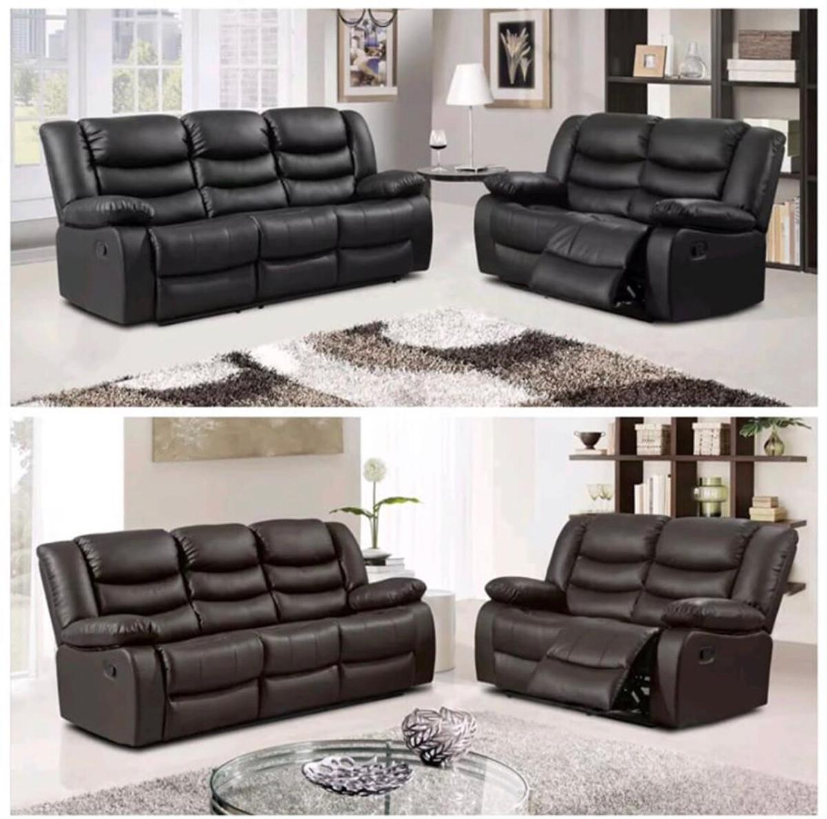 New Leather Recliner Sofa Cup Holders 3 2