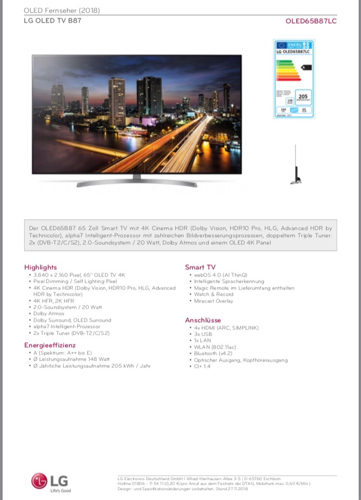 Lg Oled 65 B87 Lc In 55234 Erbes Budesheim For 1 594 00 For Sale Shpock