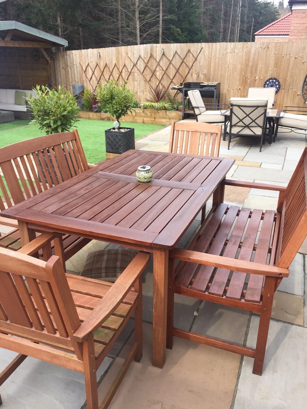 outdoor garden table and chairs wooden patio