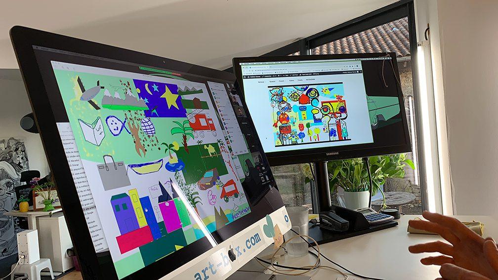 Animation de Réunion Télétravail Fresque Virtuelle exercice de coaching et leadership collaboratif art social ana artiste
