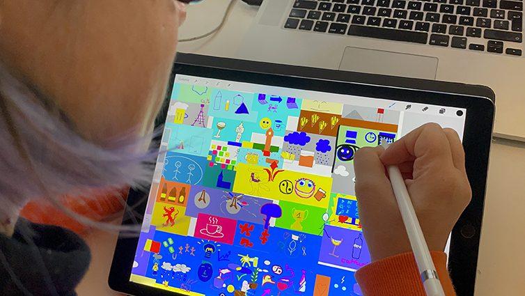 Fresque Cohésion à Distance aNa artiste webinaire.games œuvre collective à imprimer en souvenir à exposer ou offrir