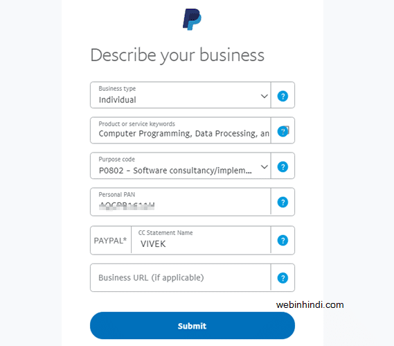 Paypal Describe your business