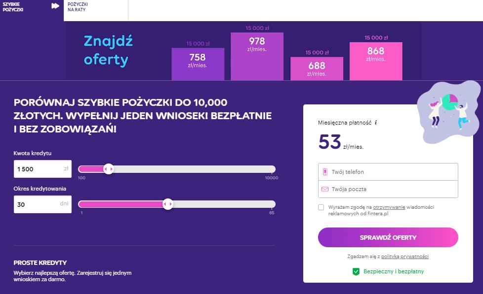 Szybkie pożyczki Fintera.pl