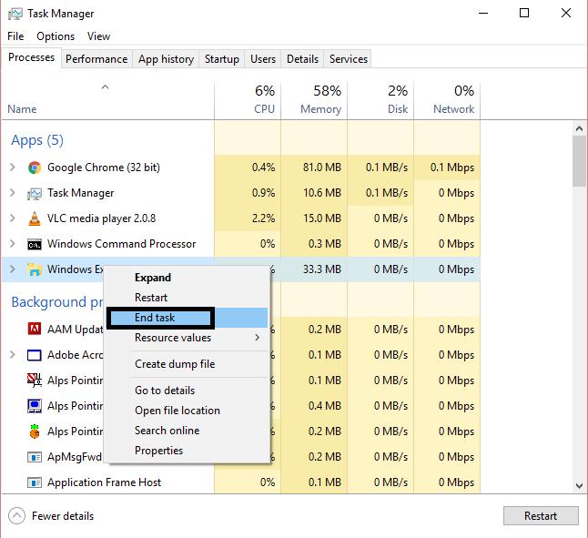 end task του windows explorer