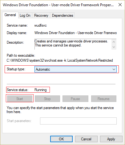 Set the startup type to Automatic and make sure the service is running