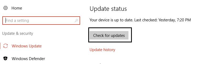 click check for updates under Windows Update