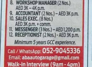 Operation Manager, Receptionist, Sales executive & other Jobs