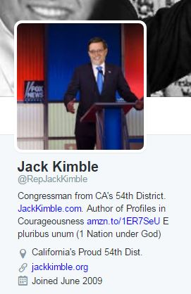 A Twitter biography about a congressman from Californias 54th district