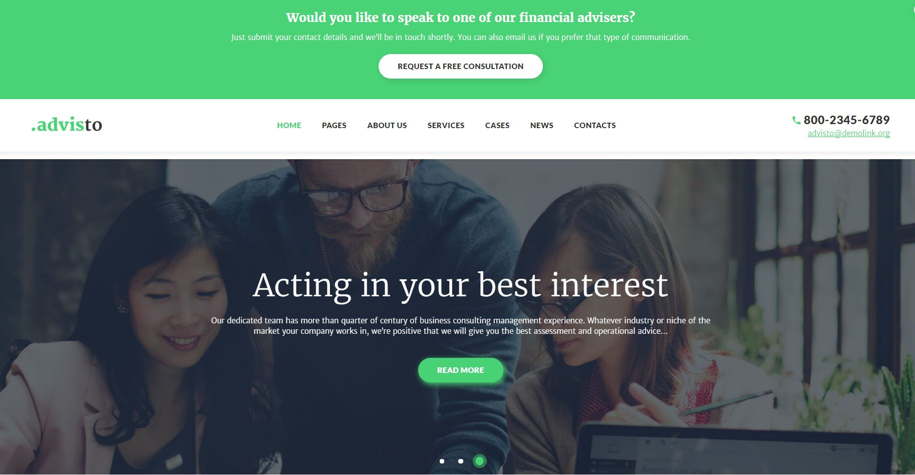 Advisto - Financial Advisor Consultancy WordPress Theme