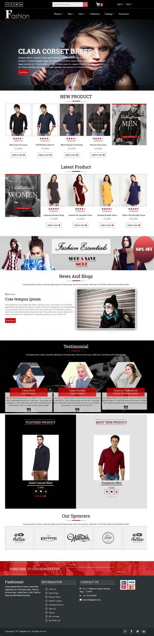screenshot of premium fashion theme on magento