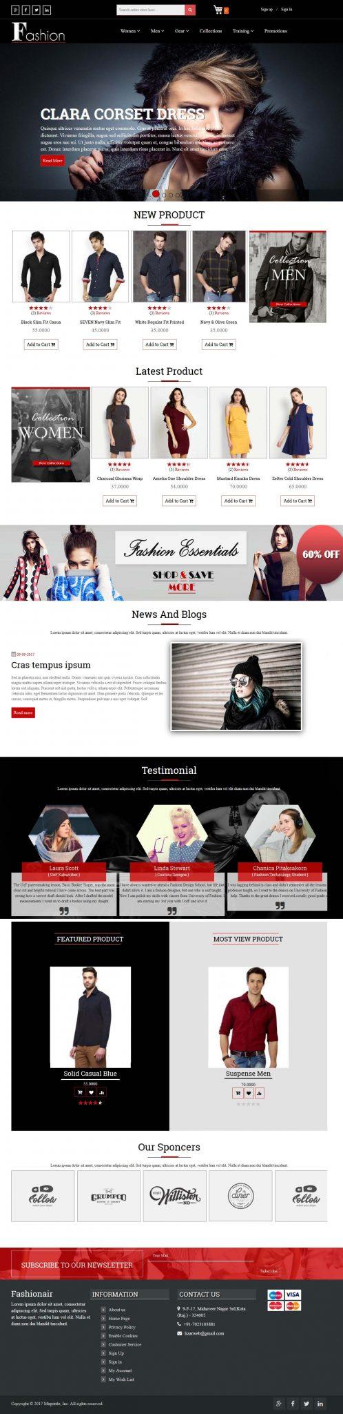 screenshot of premium fashion theme on magento