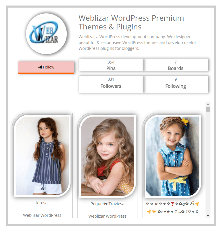 Pinterest Feed Pro WordPress Plugin Live Preview
