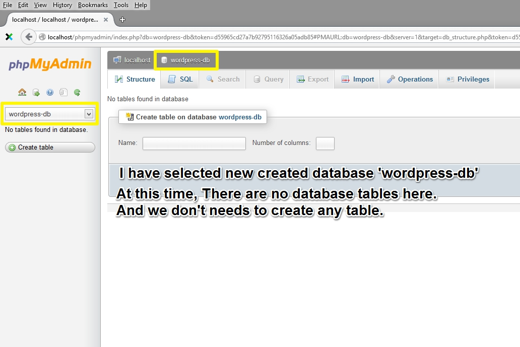 "Select Database ""wordpress-db"""
