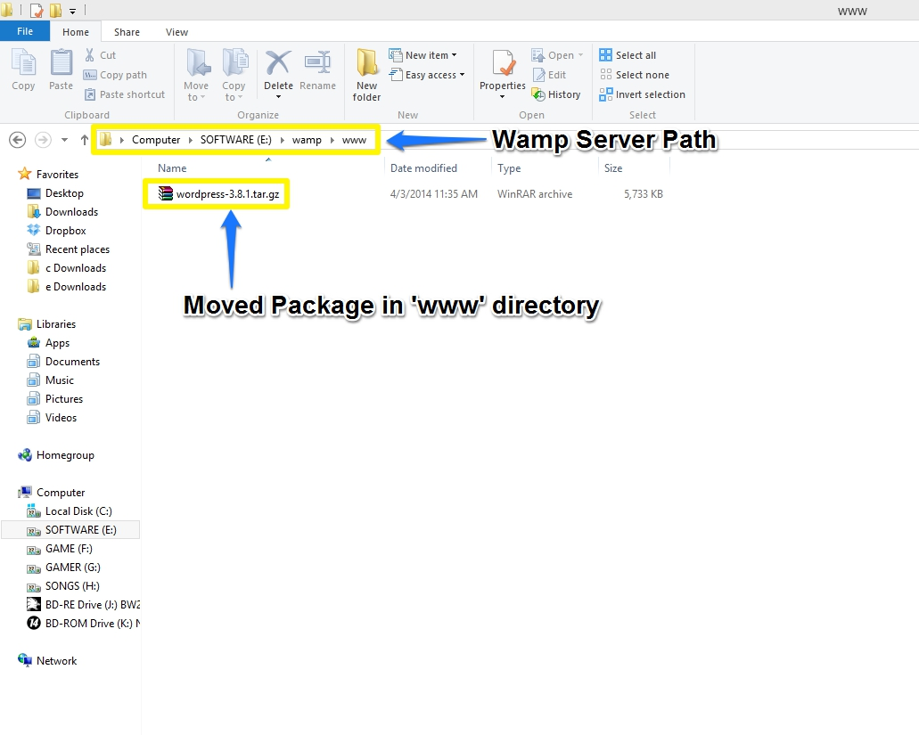 WordPress- Package moved in Wamp 'www' Directory