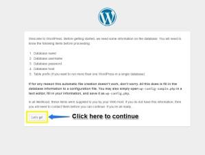 Second Screen of WordPress Installation